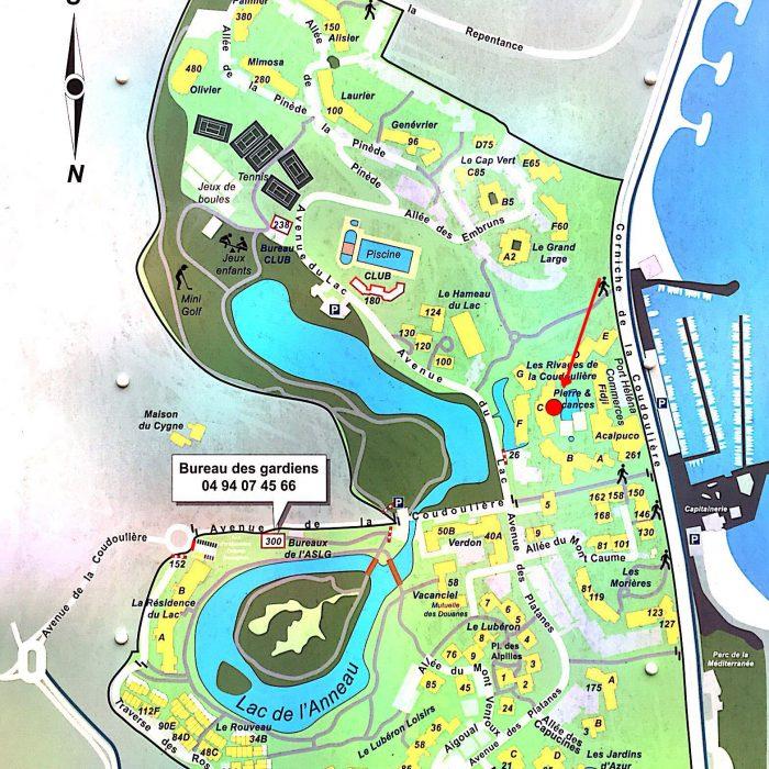 Plan de situation avec les 2 lacs centraux